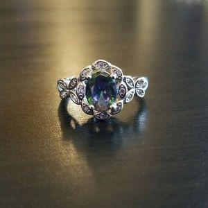 Dark Rainbow Stone Ring - Size 10